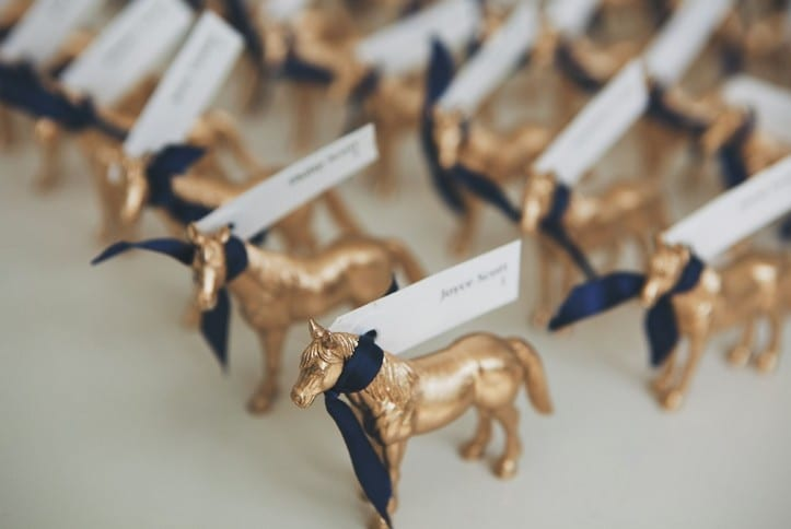 Gold Equestrian Placecards, Summer Garden Wedding at CJ's Off the Square
