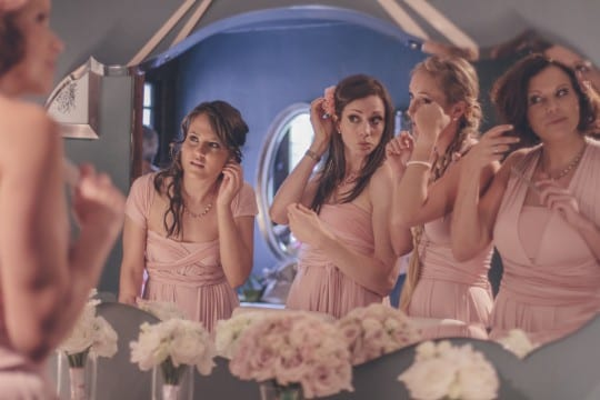 Pink Bridesmaids, Garden Wedding at CJ's Off the Square