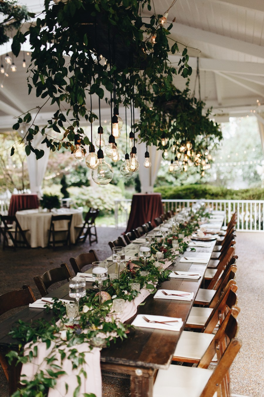Greenery, farm tables and a gorgeous garden wedding venue