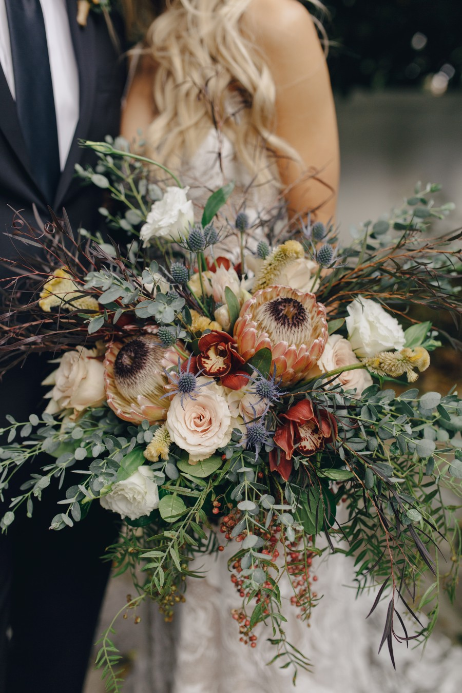 Boho Chic Bridal Bouquet with Protea