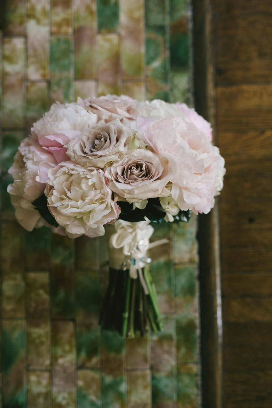 Pink peony and rose bridal bouquet