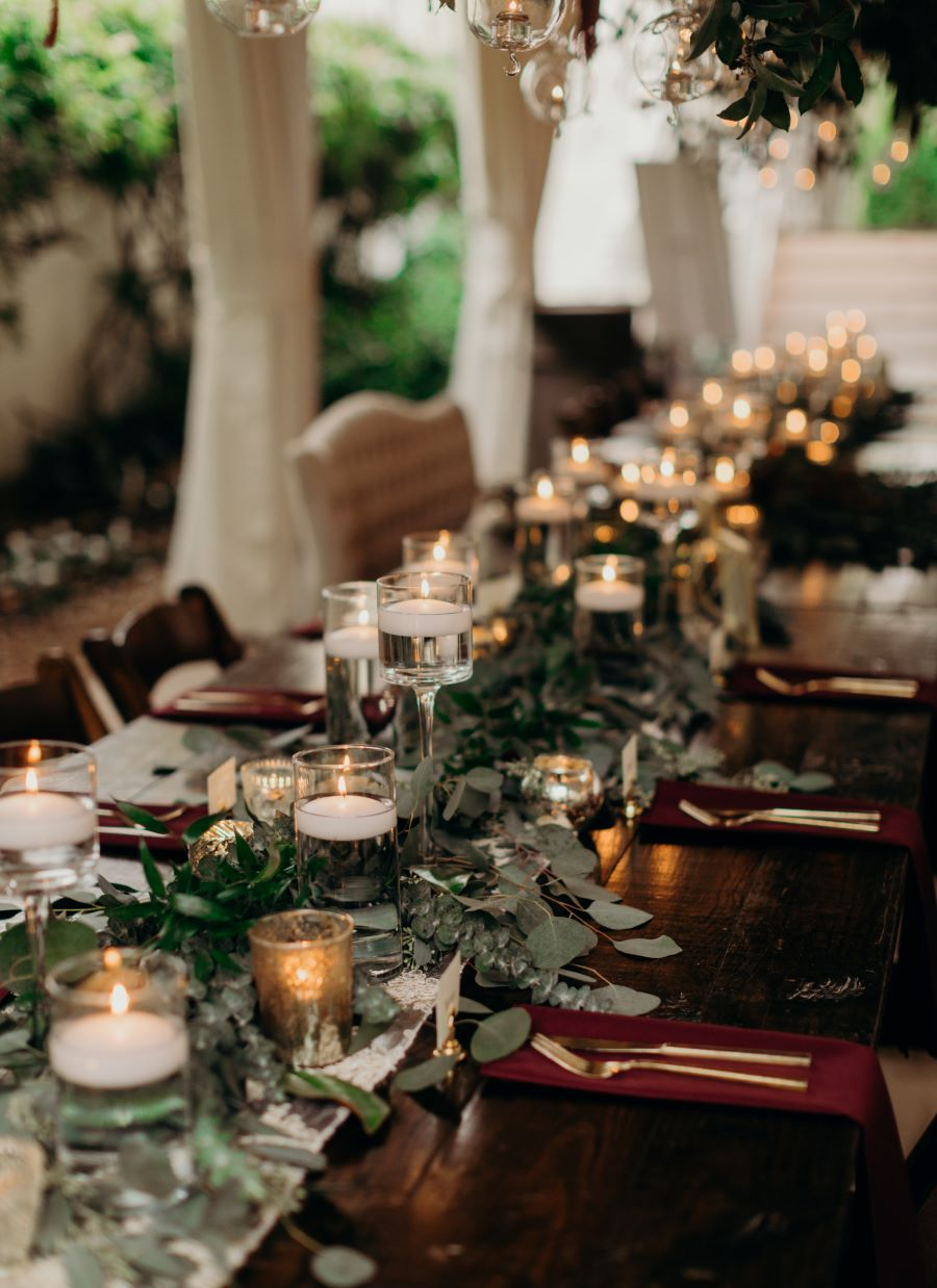 Head table centerpiece with greenery and tealight candles / earthy / fall / October / burgundy