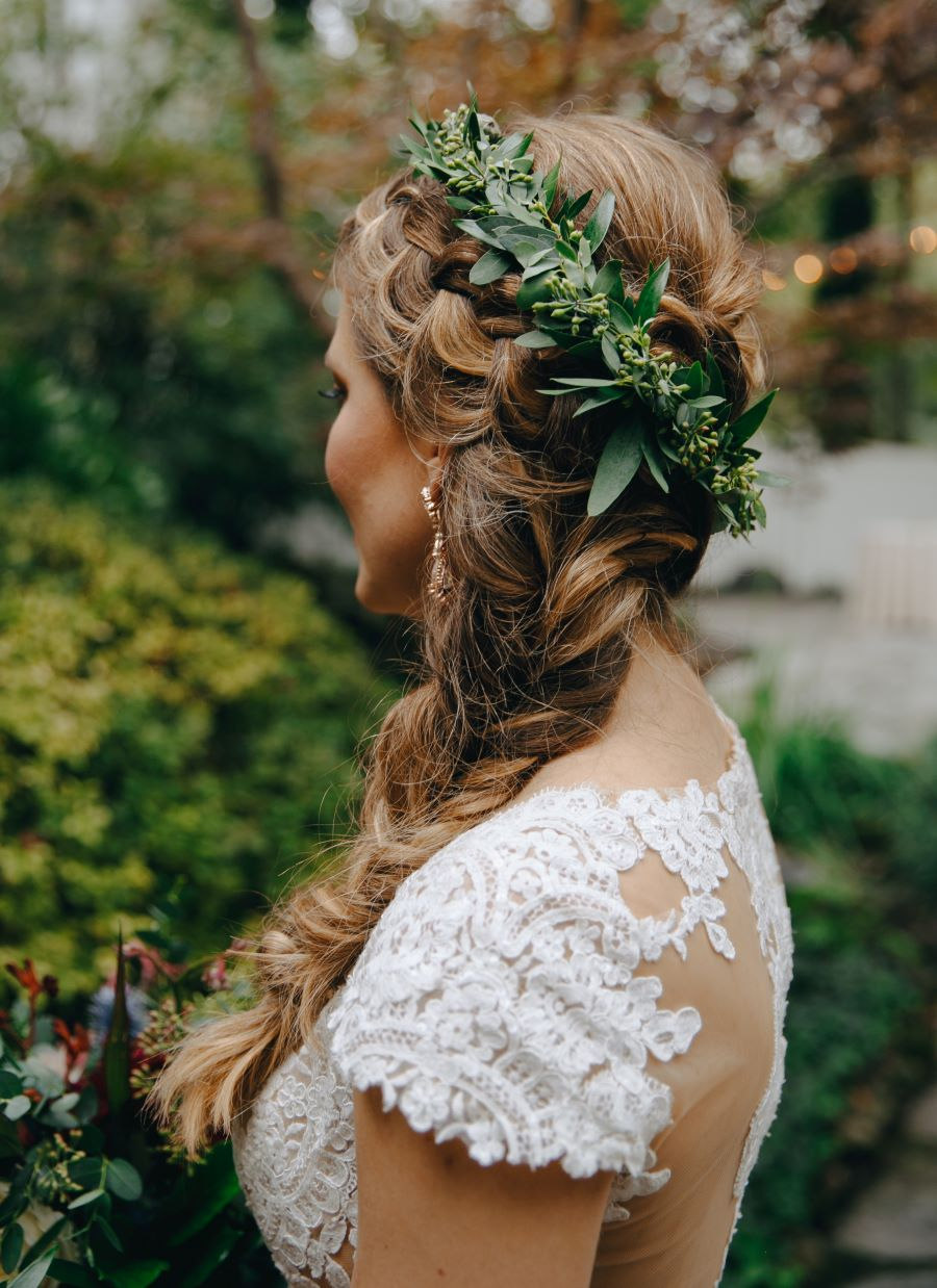 Bride's beautiful braided hairstyle with greenery crown / earthy / fall / October / burgundy
