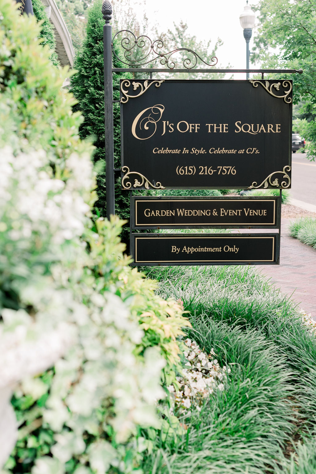 CJ's Off The Square sign / Romantic, Fun Spring June Garden Wedding in Pink