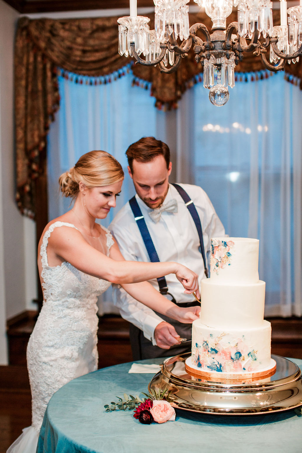 Bride and groom cutting watercolor style cake / whimsical, summer, august, red, pink, teal