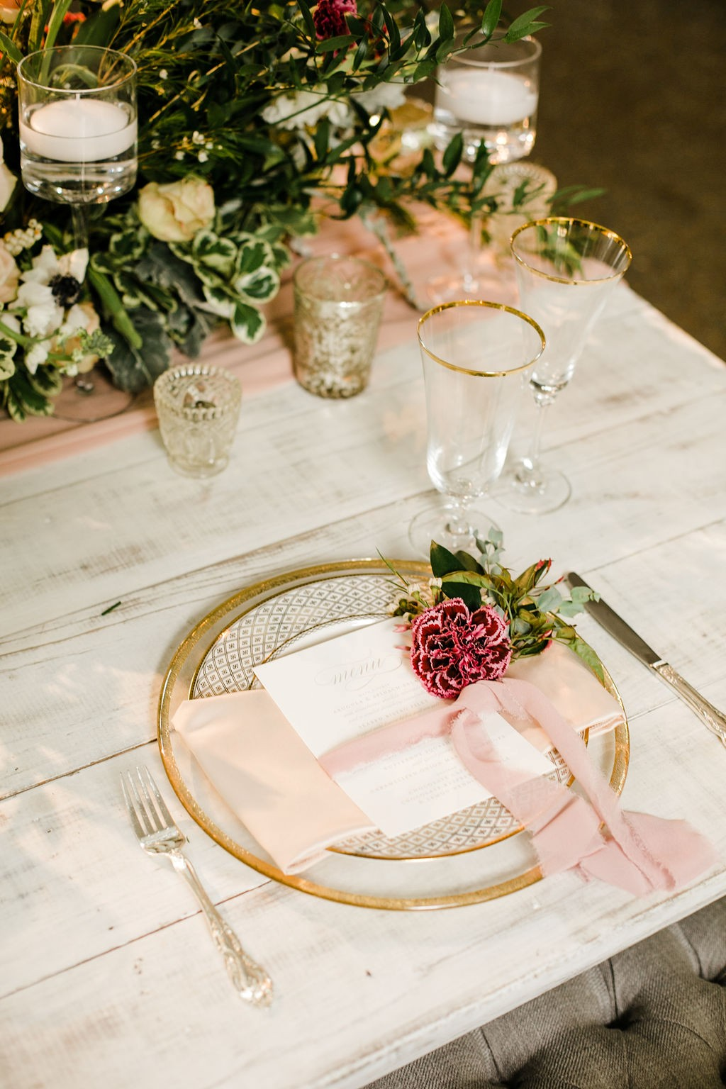 gold, dusty rose and white romantic garden wedding reception