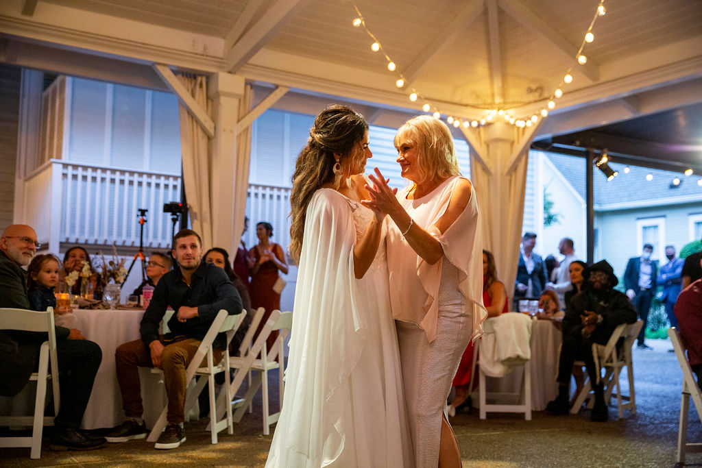 Bride dancing with her mother at reception / Boho Chic, Fall, October, Mauve